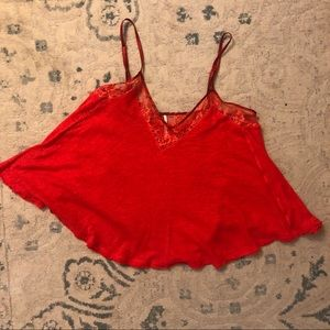 Free People Swingy Red Lace Top